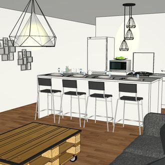 Création d'un îlot central dans un appartement par MP intérieurs, Architecte d'intérieur UFDI : vue de l'îlot coté bar.