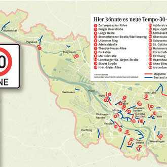 Im Verkehrsentwicklungplan geplante Tempo-30-Zonen (Quelle Weser Kurier)