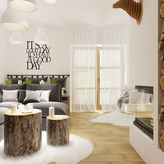 Projekt salonu z kominkiem w Czorsztynie