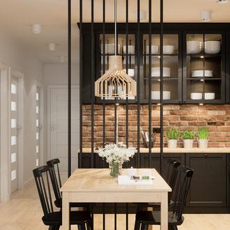 Projekt salonu z aneksem kuchennym, meble Ikea, styl skandynawski