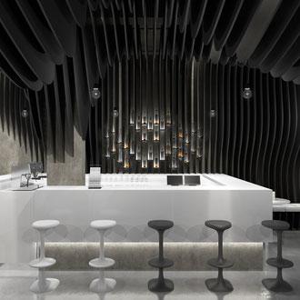 Projekt wnętrza nowoczesnej klubokawiarni
