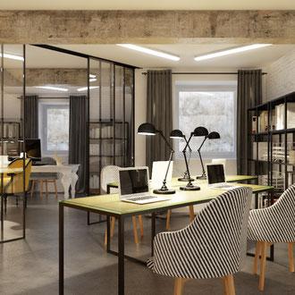 Projekt industrialnego biura w centrum Krakowa