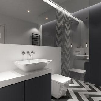 Projekt wnętrza łazienki na krakowskim Zabłociu