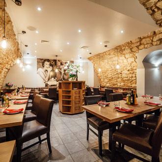 Projekt wnętrza restauracji Aqua e Vino, Ristorante Italiano na Krakowskim Rynku