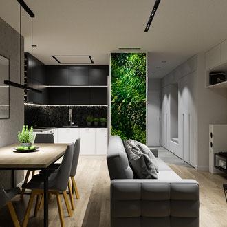 Projekt mieszkania Dobczyce, styl nowoczesny, zielona ściana
