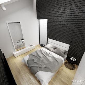 Projekt nowoczesnej sypialni z czarną cegłą