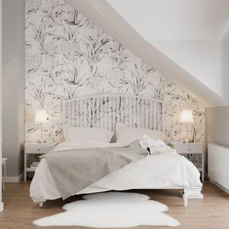Projekt wnętrza przytulnej sypialni domu jednorodzinnego