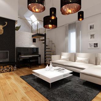 Projekt metamorfozy wnętrz wielopokoleniowego domu w Krynicy Zdrój