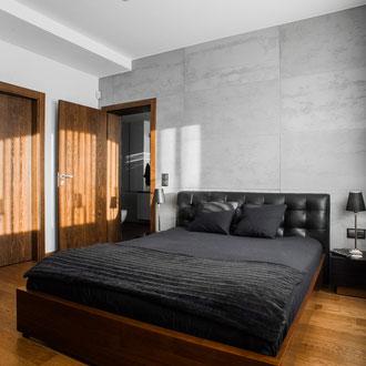 Projekt wnętrza sypialni w domu jednorodzinnym w Kaszowie k.Krakowa.