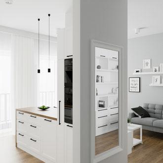 Projekt mieszkania, Kraków, styl skandynawski, nowoczesny