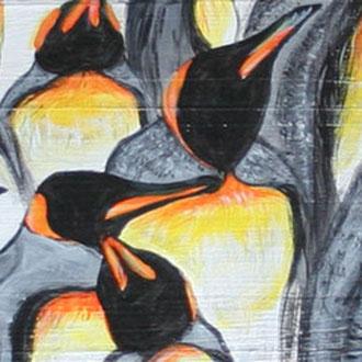 Pinguinkolonie 2, 12x90, 2013, Acryl auf Holz