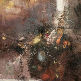 Sanza, 2016, Mixed Media (Acryl, Kaffee, Goldstaub, Beize) auf Leinwand, 80x100cm