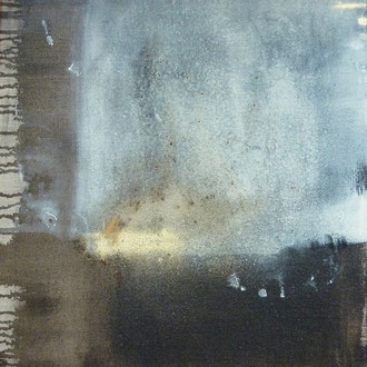 Goldgrube, 2015, Mixed Media (Kaffee, Asche, Goldstaub, Moorlauge) auf Leinwand, 60x80cm