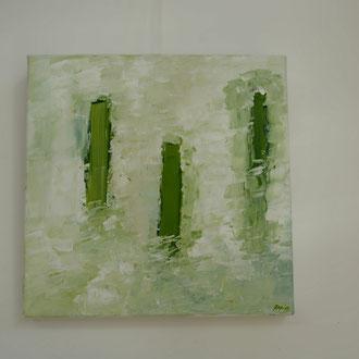Titel: Reflection II, katoen 50 x 50 cm, Acryl, mat gelakt. Augustus 2018. Prijs 350,-