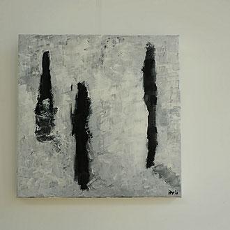 Titel: Reflection, katoen 50 x 50 cm, Acryl, mat gelakt. Augustus 2018. Prijs 350,-