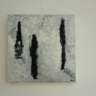 Titel: Reflection, katoen 50 x 50 cm, Acryl, mat gelakt. Augustus 2018. Prijs 275,-