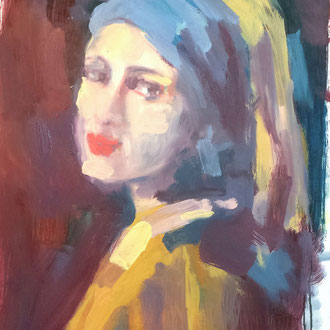 la jeune fille a la perle, peinture de Séverine Saint-Maurice, lescerclesdelumiere.com