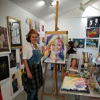 portrait de Sylvia, peinture de Séverine Saint-Maurice, lescerclesdelumiere.com