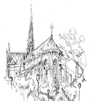 Notre Dame de Paris, dessin de Séverine Saint-Maurice, lescerclesdelumiere.com