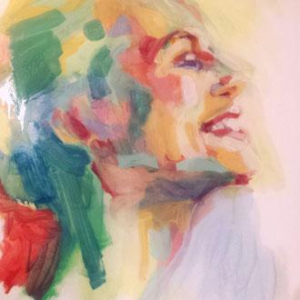 portrait de Gabrielle, peinture de Séverine Saint-Maurice, lescerclesdelumiere.com