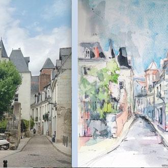 Tours, croquis urbain de Séverine Saint-Maurice, lescerclesdelumiere.com
