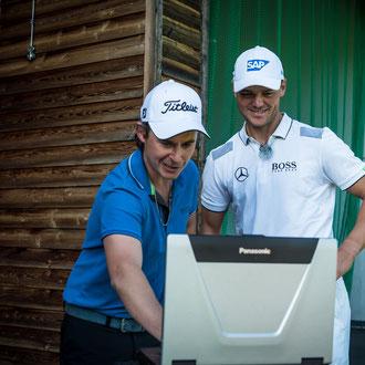 'Mercedes Golf' Trackman Demo mit Kaymer & Langer