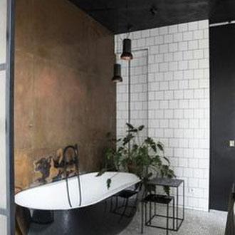 Metall putz gold bronze silber rost küche Keuken wohnen wonen statement charakter interior architektur luxus elegant robust badezimmer wanne dusche