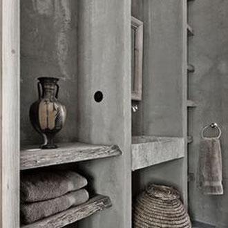 Beton Cire Betonputz Küche bad dusche wand boden möbel oberfläche keuken muur fugenfrei glatt elegant kast schrank