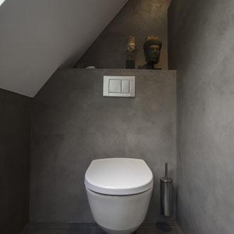 Beton Cire Betonputz Küche bad dusche wand boden möbel oberfläche keuken muur fugenfrei glatt elegant toilette wc