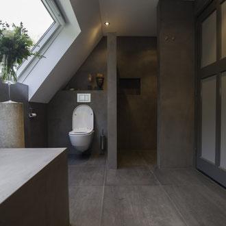 Beton Cire Betonputz Küche bad dusche wand boden möbel oberfläche keuken muur fugenfrei glatt elegant badkamer