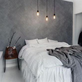 Betonlook Farbe mit pinsel einfach schnell diy Kamin wand boden treppe holz fliesen schlafzimmer