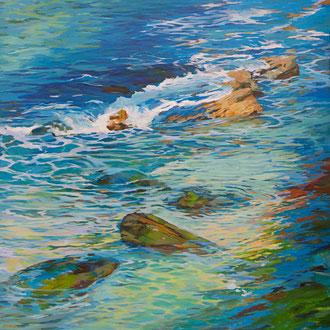 Swirls in the water. El Sardinero.  Acrylic on canvas.  100 x 100 cm.