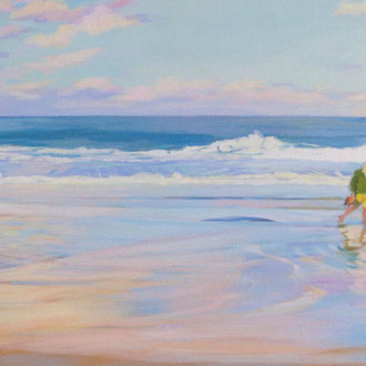 Sunset in  Santander. Acrylic on canvas. 40 x 90cm. *
