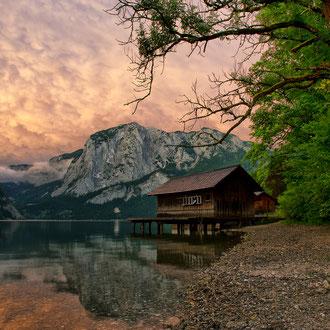 Bootshütte am Altausseer See mit der Trisselwand
