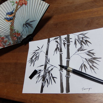 筆ペン 水墨画 鮫島圭代