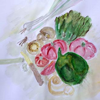 Karola und ihre Gemüseplatte - vorbildlich !