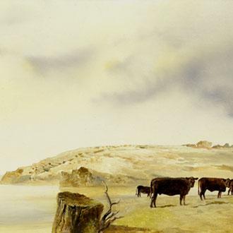 Genia Chef, California, Rock Slide Area, 31 x 100 cm, oil on masonite