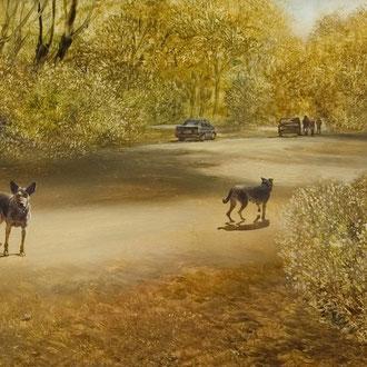 Genia Chef, Golden Autumn, 31 x 100 cm, oil on masonite