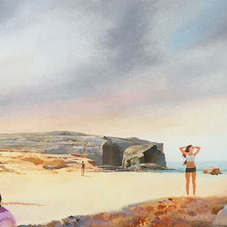 Genia Chef, Beach of Gozo, 31 x 100 cm, oil on masonite