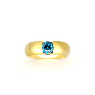 Ring 750/ooo Gold, 0,8 ct Ocean Blue Brillant