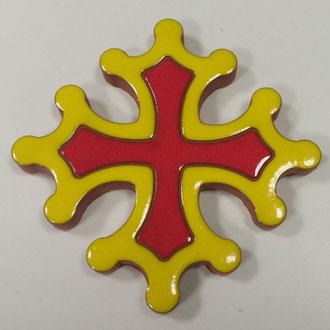 Croix Occitane plate diamètre 14.5 émaillé 2 couleurs rouge et jaune