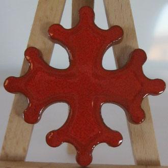 Magnet Croix occitane diamètre 5 cm émaillé rouge partout