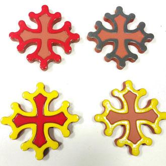 Croix Occitane plate diamètre 14.5  émaillé differentes couleurs
