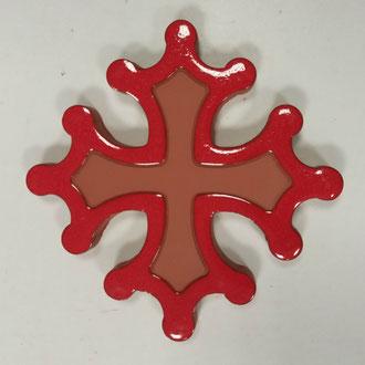 Croix occitane plate diamètre 14.5 émaillé extérieur rouge vif