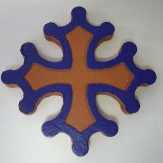 Croix occitane plate diamètre 14.5 émaillé extérieur bleu éléctrique