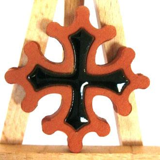 Magnet Croix Occitane diamètre 5 cm émaillé à l'intérieur