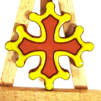 Magnet Croix Occitane diamètre 5 cm émaillé extérieur jaune