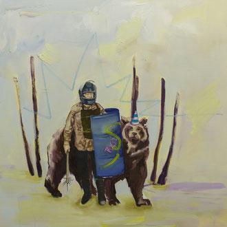 happy riot, Ölpastelle und Öl auf Leinwand, 74 x 82 cm, 2018