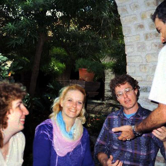 Debra Ramsey, Mary Santamore, Dave Barrison and Donald Mahler at Meherabad. Photo courtesy of Anne Giles