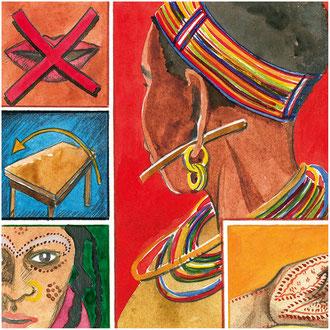 Illustrationen für kontinente-Serie Riten der Religionen